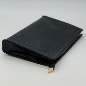 Black Croc Embossed Clutch